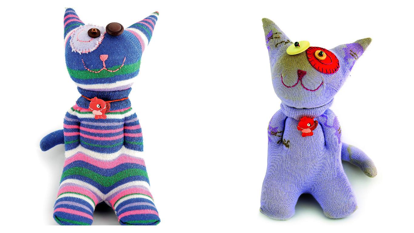 Коты из носочков: мастер-класс
